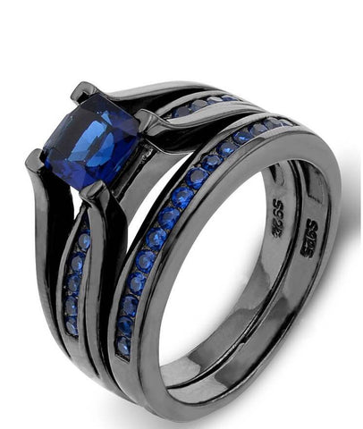 Sterling Silver Princess-Cut Sapphire Blue Color Solitaire Engagement Ring Set - The Accessory Nook  - 1