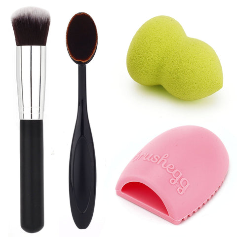 Makeup Beauty Blender Sponge Premium Cosmetics Synthetic Kabuki Brush Set Kit - The Accessory Nook  - 1