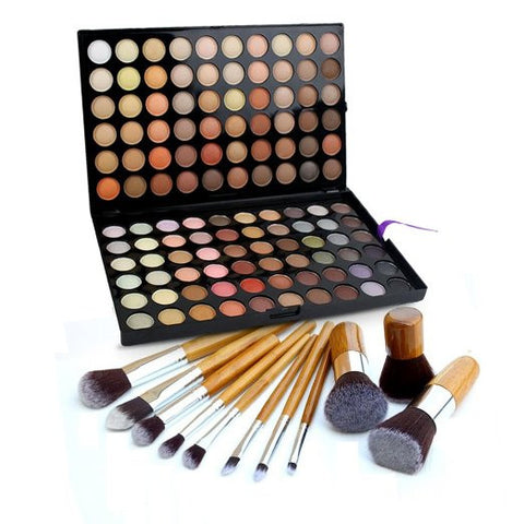 Eye Shadow Palette Camouflage Makeup Palette Kit + 11 Pro Bamboo Kabuki Brush Set - The Accessory Nook  - 1