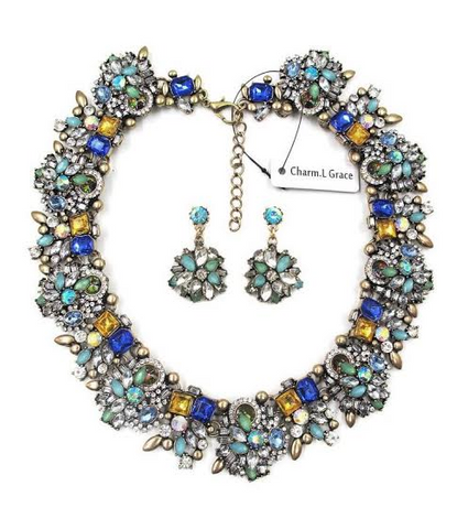 Statement Jewelry Vintage Collar Trendy Choker Bib Fashion Necklace Earrings Set - The Accessory Nook  - 1