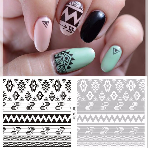 1 Sheet Beauty Nails Black Tribal Nail Art Water Decals Floral Transfer Stickers - The Accessory Nook