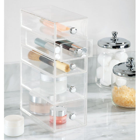 5 Drawer Organizer Tower Vanity Clear Acrylic Cabinet to Hold Makeup Beauty Products - The Accessory Nook  - 1