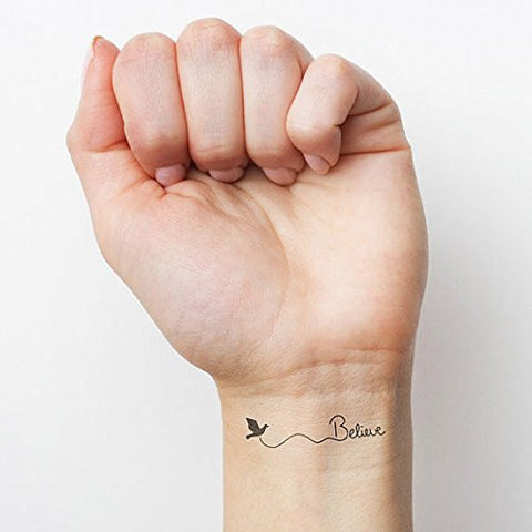 Believe Bird Trendy Black Temporary Fashion Realistic Epic Tattoo Set of 2 - The Accessory Nook  - 1
