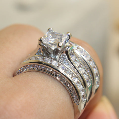 Victorian Princess Cut Sterling Silver White Sapphire CZ Diamond Bridal Ring - The Accessory Nook  - 1