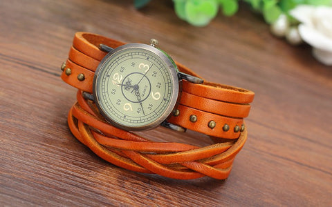 Fashion Rivet Braided Genuine Leather Bracelet Watch Women Quartz Watch - The Accessory Nook  - 1