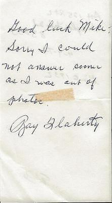 Ray Flaherty Signed 1979 Handwritten Note Washington