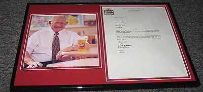 Dave Thomas Wendy's Founder Signed Framed Letter & Photo Display 1997