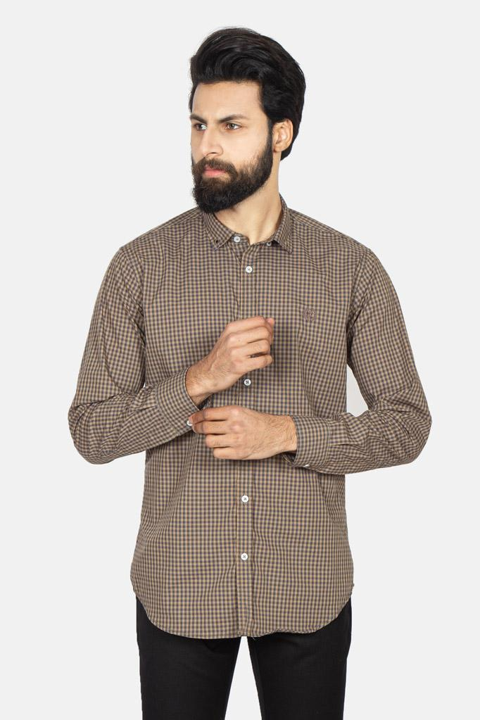 Casual Shirt F/S CHK C19004-BR