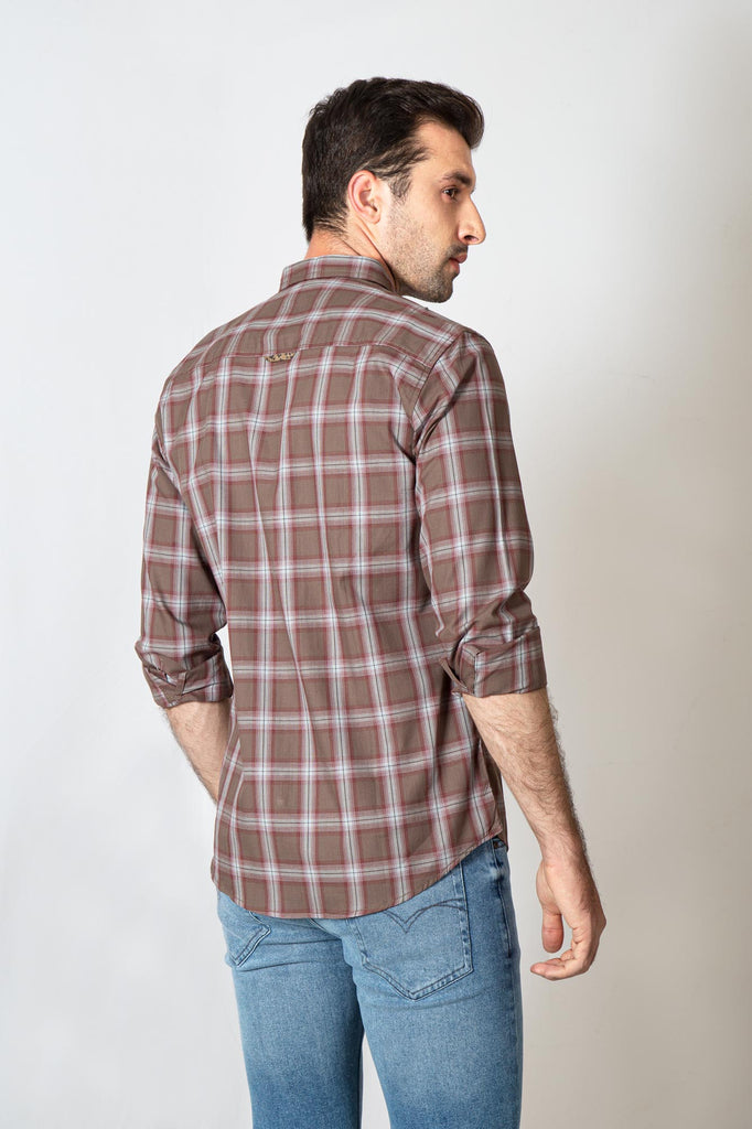 RT Casual Shirt F/S CHK C19609-BR