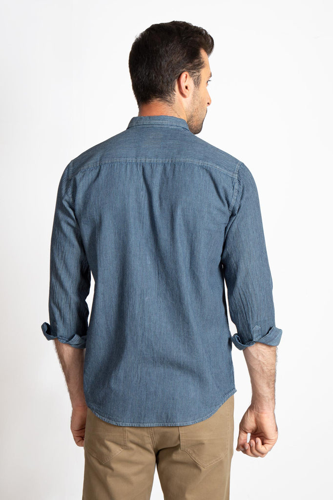 RT CASUAL SHIRT F/S LINING L19804-BL