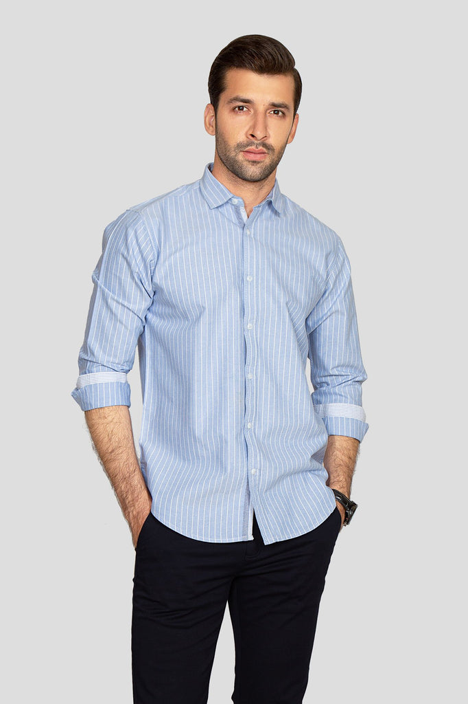 RT Casual Shirt F/S LINING L20802-SKY