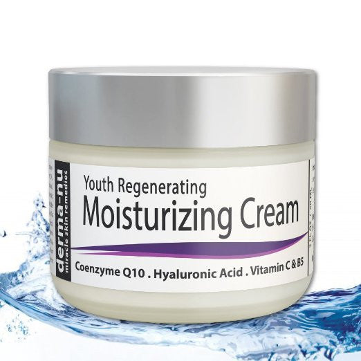 Derma-nu's Youth Regenerating Moisturizing Cream helps Restore Firm Skin.