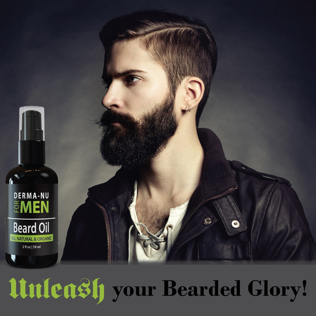 Beard Oil & Conditioner by Derma-nu for Men - Organic, All Natural Formula Enriched with Argan, Avocado & Jojoba Oil for a Strong, Healthy Beard