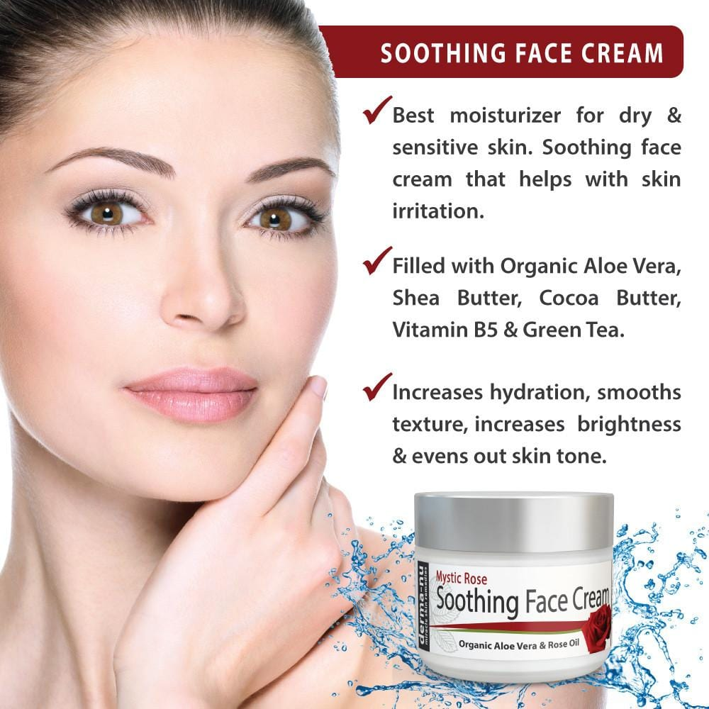 Organic Soothing Face Cream Moisturizer - For Sensitive and Dry Skin - Anti-Aging and Anti-Wrinkle Facial Treatment - Natural Aloe Vera and Rose Oil - 2 oz