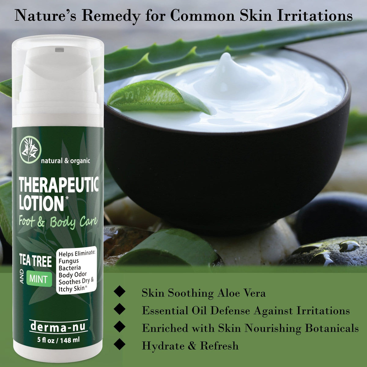 Therapeutic Tea Tree Lotion – Antifungal & Anti Itch Cream for Feet and Body