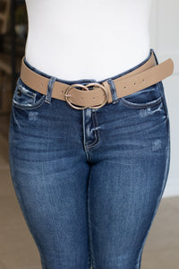 Double Ring Belt (taupe/silver) - Calico's Boutique
