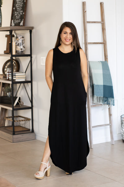 Sleeveless Black Maxi Dress - Calico's Boutique