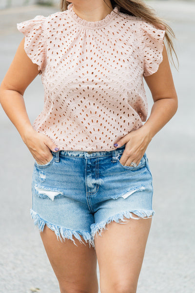 Blushing Beauty Eyelet Top