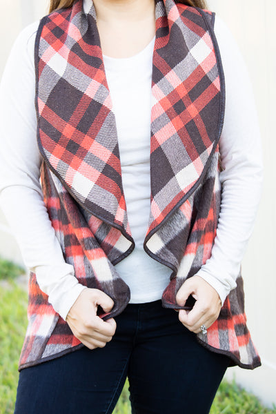Plaid Waterfall Vest (brown/red/tan) - Calico's Boutique