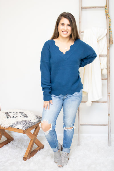 Waves Of Teal Sweater - Calico's Boutique