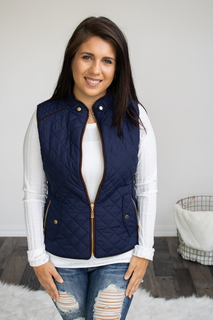 Navy Quilted Vest - Calico's Boutique