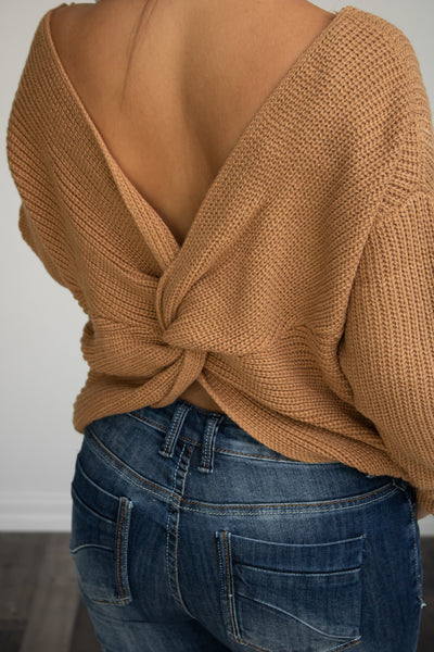 The Perfect Twist Sweater (camel) - Calico's Boutique