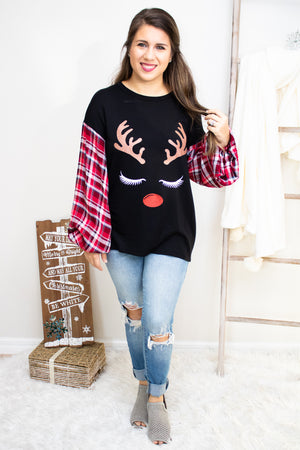 Red Nosed Reindeer Top - Calico's Boutique