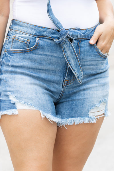 Front Tie Distressed Denim Shorts