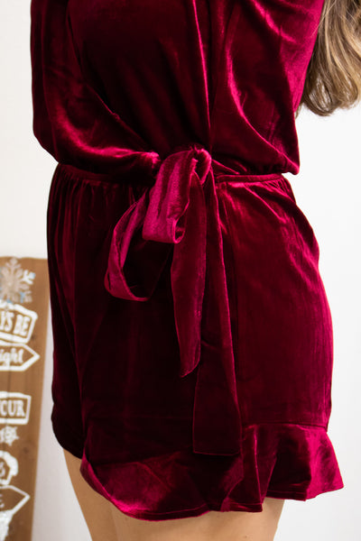 Lady In Velvet Wine Romper - Calico's Boutique