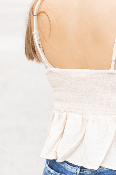 Bow Tie Cropped Tank (natural)