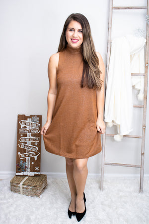 One Shiny Night Camel Brown Dress - Calico's Boutique