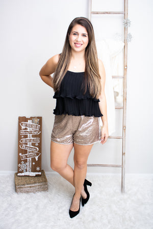 Gold Sequin Shorts - Calico's Boutique