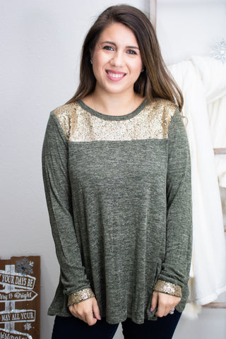 Olive Shimmers Gold Sequin Top