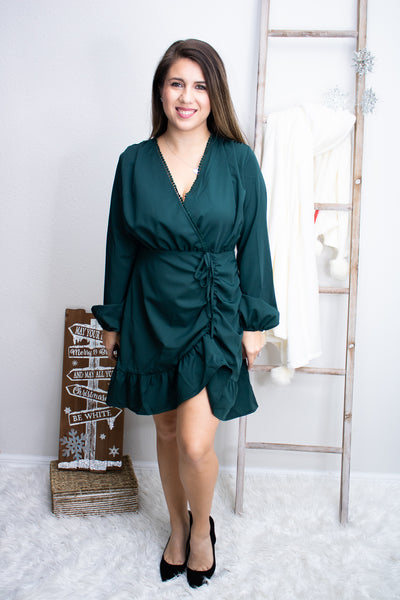 Special Occasions Green Ruffle Dress - Calico's Boutique