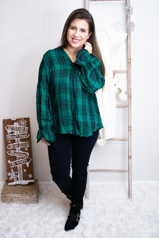 Dressed In Plaid Forest Green Top - Calico's Boutique