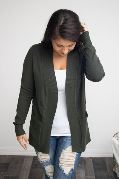 Classic Pocket Cardigan (olive) - Calico's Boutique