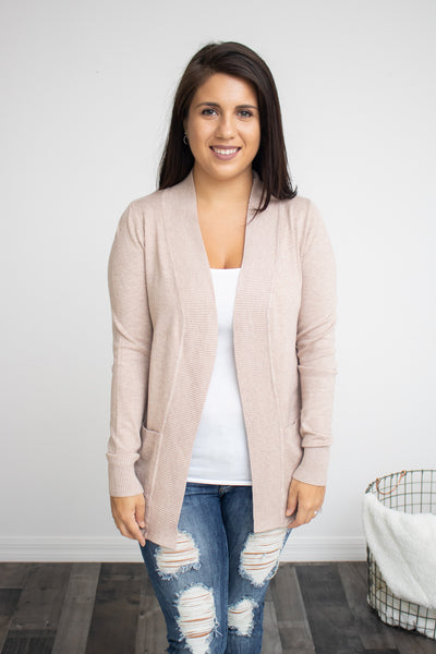 Classic Pocket Cardigan (khaki) - Calico's Boutique