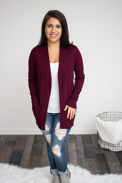 Classic Pocket Cardigan (burgundy) - Calico's Boutique