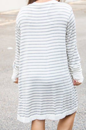 Grey Striped Cardigan