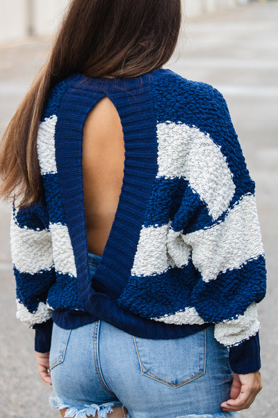 Striped Open Back Popcorn Sweater (navy)
