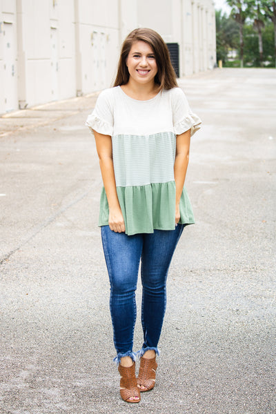 Tiered Ruffled Babydoll Top (olive)
