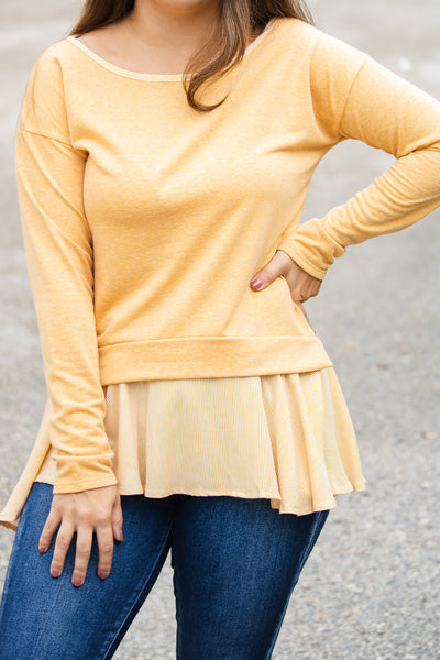 Fall Vibes Mustard Striped Top