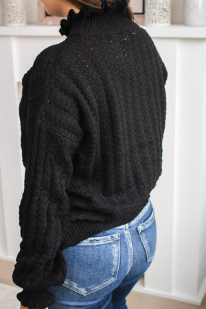 Ruffled High Neck Sweater (black)