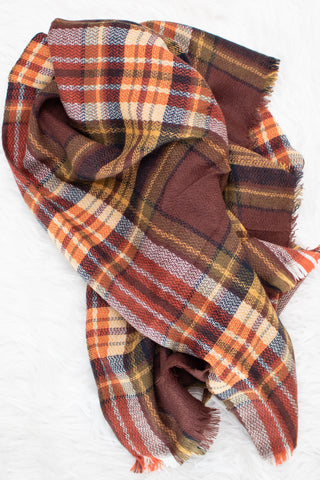 Blanket Scarf (brick) - Calico's Boutique