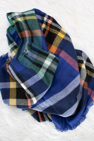 Blanket Scarf (navy/green) - Calico's Boutique