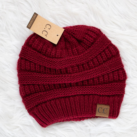 CC Beanie (burgundy) - Calico's Boutique
