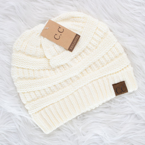 CC Beanie (ivory) - Calico's Boutique
