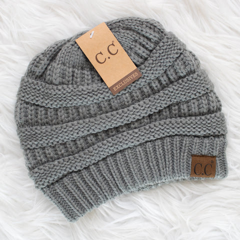 CC Beanie (natural grey) - Calico's Boutique