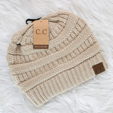 CC Beanie (beige) - Calico's Boutique
