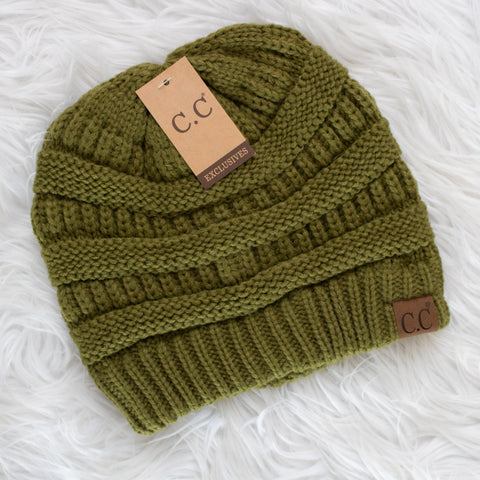 CC Beanie (olive) - Calico's Boutique